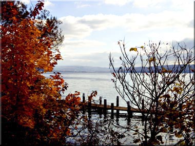 Looking down Cayuga Lake toward Ithaca, New York in autumn.