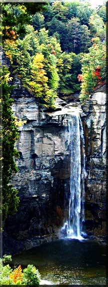 Taughannock Falls with spark of autumn color.