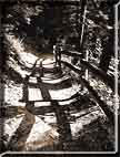 Shadows casting a zig-zag pattern on a stoney path.